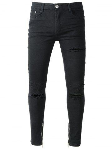Buy Zip Hem Skinny Jeans with Knee Rips