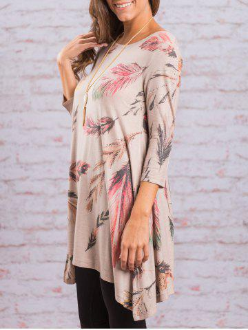 Outfits Asymmetric Feather Print Long Tunic Tee