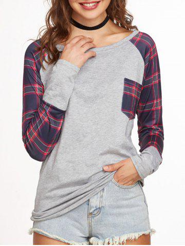 Fashion Plaid Raglan Sleeve Baseball T Shirt