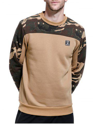 Fashion Camouflage Panel Fleece Pullover Sweatshirt