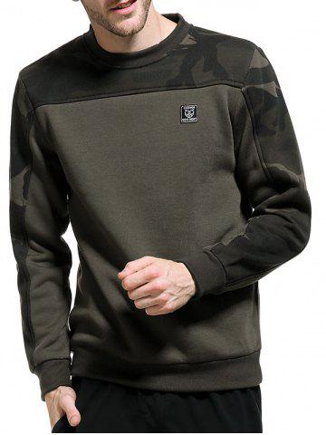 Camouflage Panel Fleece Pullover Sweatshirt