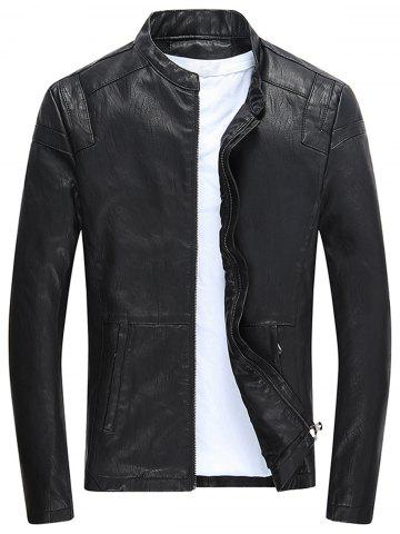 Outfit Faux Leather Zip Up Fleece Jacket
