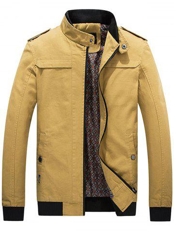Best Epaulet Rib Panel Zip Up Jacket