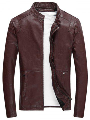 Buy Faux Leather Zip Up Fleece Jacket