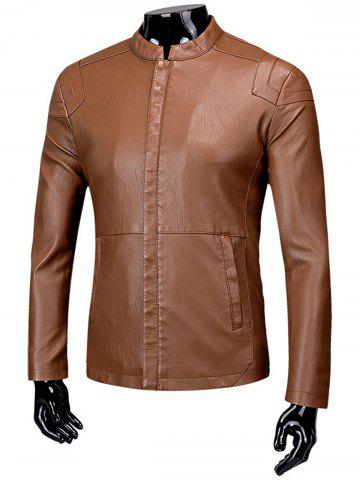 Shops Faux Leather Zip Up Fleece Jacket