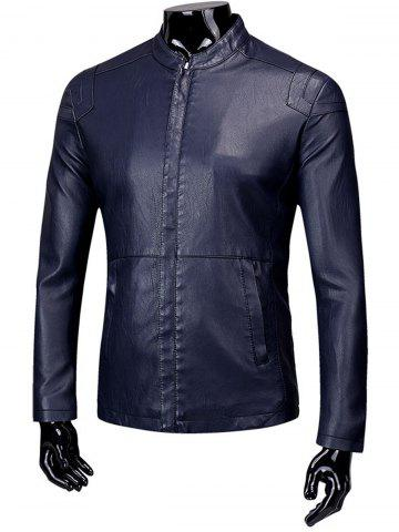 Outfits Faux Leather Zip Up Fleece Jacket
