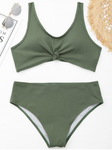 Fancy Ribbed Knotted Plus Size Swimwear