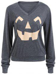 Sweat-shirt Halloween Imprimé Citrouille Col en V -