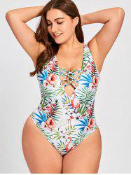 Lace Up Floral Plus Size Swimsuit -