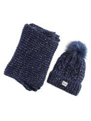 Hemp Flower Knit Pom Hat with Scarf -