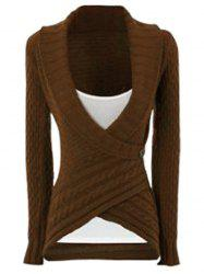 Chic Turn-Down Neck Long Sleeve Asymmetrical Women's Sweater - DARK KHAKI XL