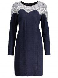 Lace Trim Plus Size Long Sleeve Dress -