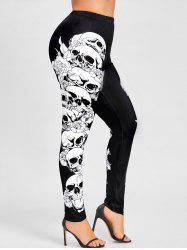 Halloween Plus Size Skulls Monochrome Leggings - Black - 5xl