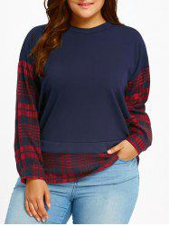 Fake Twinset Plus Size Long Sleeve Plaid Blouse - RED WITH BLACK 5XL