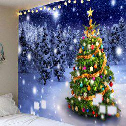 Christmas Tree Night Snow Forest Printed Wall Tapestry - Colorful - W91 Inch * L71 Inch