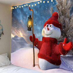 Taking Lamp Christmas Snowman Patterned Wall Art Tapestry - Colorful - W91 Inch * L71 Inch