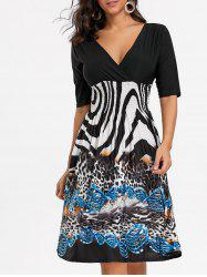 V Neck Leopard Print Surplice Dress -
