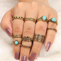 10 Pieces Turquoise Embellished Rose Vintage Rings - Or