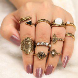 10 Pieces Faux Gem Embellished Vintage Rings -