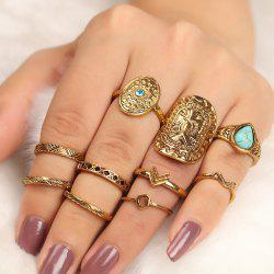 10 Pièces Bohemia Shield Arrow Rings - Or