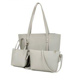 3 Pieces Faux Leather Shoulder Bag Set -