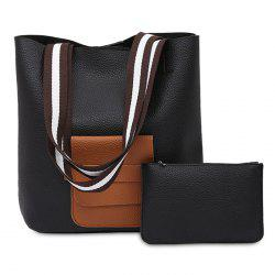 Faux Leather 2 Pieces Shoulder Bag Set -