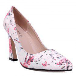 High Heel Floral Sequined Pumps - RED 38
