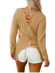 V Neck Back Lace Up Sweater -