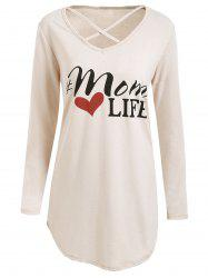 Criss Cross Tunic Graphic T-shirt - OFF-WHITE S