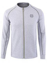 Embroidered Patch Zip Up Jacket - GRAY 4XL