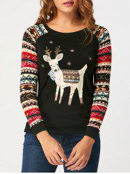 Long Raglan Sleeve Cartoon Reindeer Print T-shirt -
