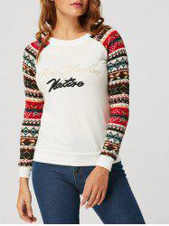 Geometric Print Embroidered Long Raglan Sleeve T-shirt - WHITE S