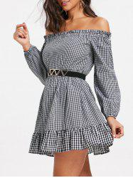 Plaid Off The Shoulder Drop Waist Dress - CHECKED S