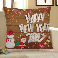 Father Christmas and Snowman Pattern Square Pillow Case - COLORFUL W18 INCH * L18 INCH