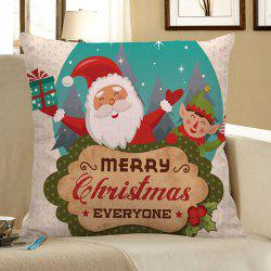 Happy Santa Claus Printed Linen Pillow Case - Colorful - W18 Inch * L18 Inch