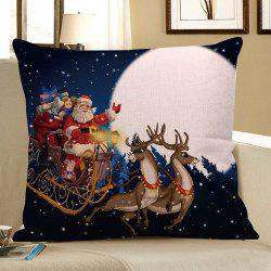 Father Christmas and Moon Printed Linen Pillow Case -