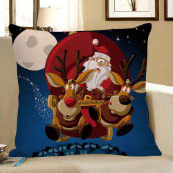 Christmas Cartoon Elk Pattern Linen Pillow Case - Colorful - W18 Inch * L18 Inch