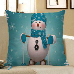 Christmas Snowman Pattern Square Pillow Case - Light Blue - W18 Inch * L18 Inch