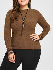 Plus Size Striped High Neck Sweater -