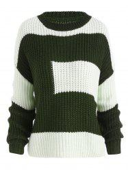 Plus Size Color Block Chunky Knitted Boyfriend Sweater - BLACKISH GREEN ONE SIZE
