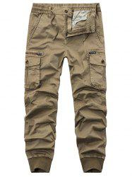 Flap Pockets Zip Fly Beam Feet Cargo Pants - KHAKI 32