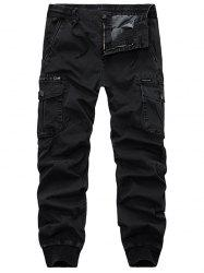 Flap Pockets Zip Fly Beam Feet Cargo Pants - BLACK 36