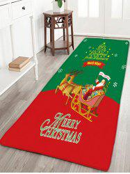 Christmas Sled Flannel Antiskid Thin Bath Mat - Red And Green - W16 Inch * L47 Inch