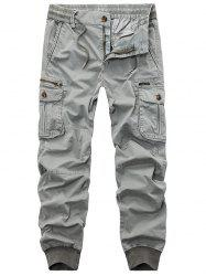 Flap Pockets Zip Fly Beam Feet Cargo Pants - LIGHT GRAY 34