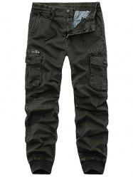 Flap Pockets Zip Fly Beam Feet Cargo Pants - ARMY GREEN 38