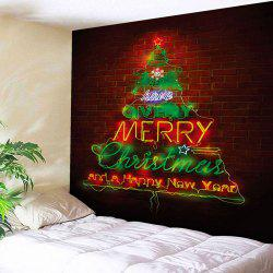 Christmas Tree Brick Wall Decor Tapestry - Brick-red - W59 Inch * L51 Inch