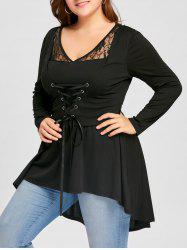 Plus Size Lace Up High Low Gothic Top - Black - 5xl