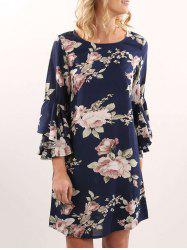 Flare Sleeve Shift Dress - PURPLISH BLUE S