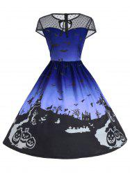 Vintage Mesh Panel Halloween A Line Dress - Bleu 2XL