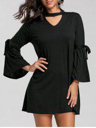 Bell Sleeve Keyhole Mini T-shirt Dress - BLACK S